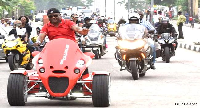 Calabar Carnival: Governor Ayade Leads Bikers' Dry Run