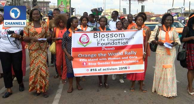 Female Activists Walk Against Gender Based Violence