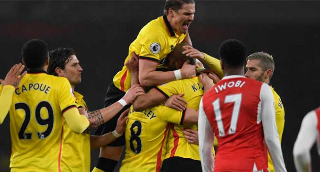 Arsenal Crash At Home To Watford, As Chelsea Draw At Anfield