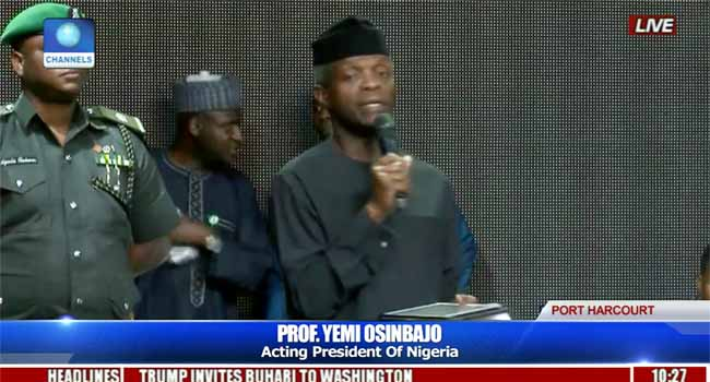 Osinbajo Calls On Niger Delta Youths To Shun Violence