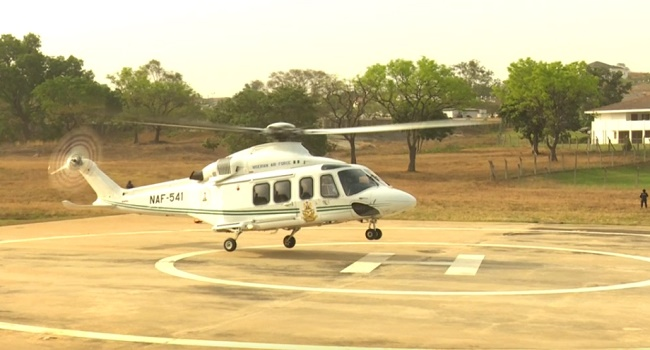 Buhari's Chopper Arrives Abuja