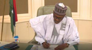 Buhari at his office