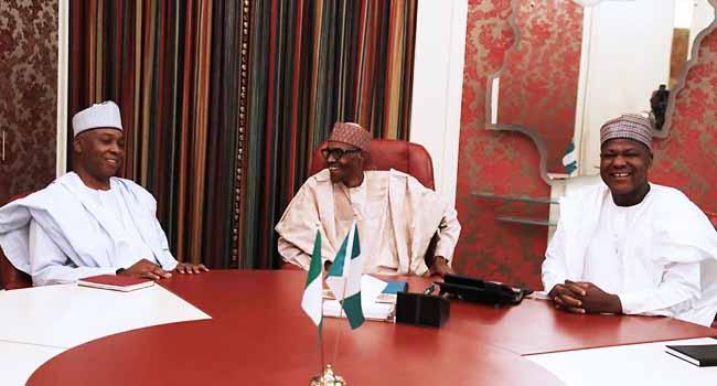 Buhari Meets With Saraki, Dogara