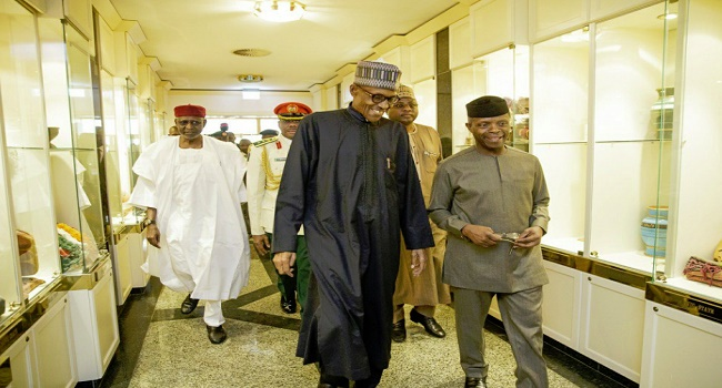 Buhari and Vice President, Yemi Osinbajo at the Presidential Villa