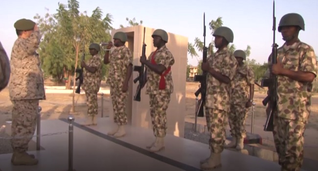 Secretary General of the IMCTC Lieutenant General Abdulelah Alsaleh gets salutes by the Nigerian Army