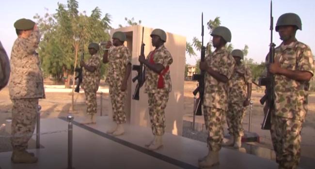Secretary General of the IMCTC Lieutenant General Abdulelah Alsaleh gets salutes by the Nigerian Army
