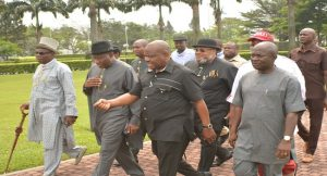 Former President, Goodluck Jonathan, Gov. of Rivers State, Nyesom Wike and other members of his cabinet