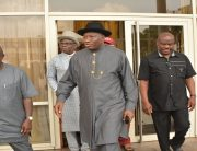 Former president, Goodluck Jonathan and Nyesom Wike in Port Harcourt