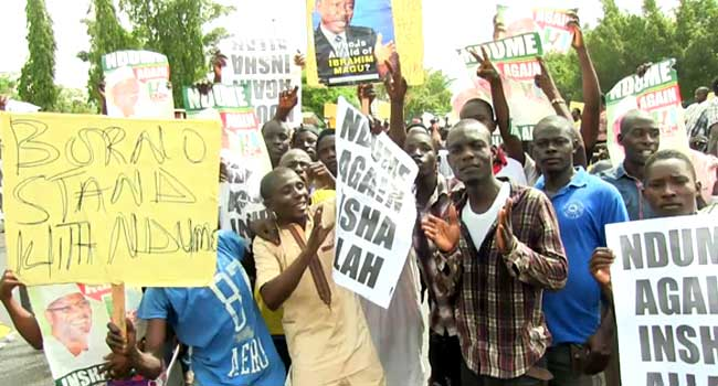 Groups Protest At National Assembly Over Ndume's Suspension