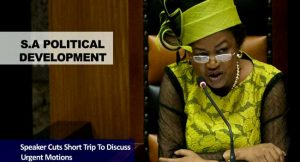 South African Speaker Aborts Trip To Discuss Urgent Motion