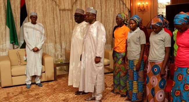 PHOTOS & VIDEO: President Buhari Receives Freed 82 Chibok Girls