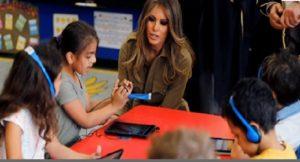 First lady Melania Trump visited the American International School in Riyadh,  Saudi Arabia on Sunday (May 21).
