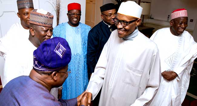 PHOTOS: Buhari Receives Seven Governors In London