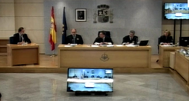 Spain's Mariano Rajoy gives evidence in court
