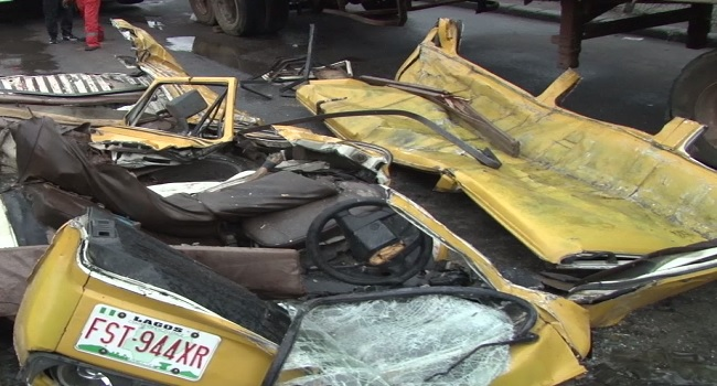 Five Killed, Three Injured As Container Falls On Bus In Ojota
