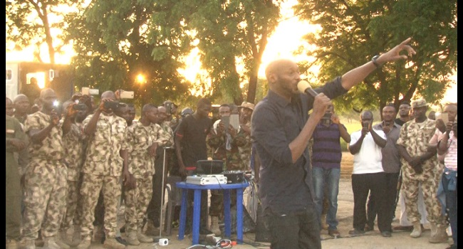 Tuface Thrills Troops In Borno, Dedicates Song To IDPs
