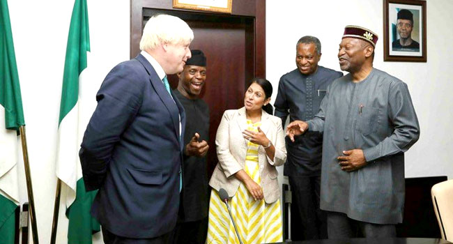 Osinbajo Receives British Foreign Secretary, Boris Johnson