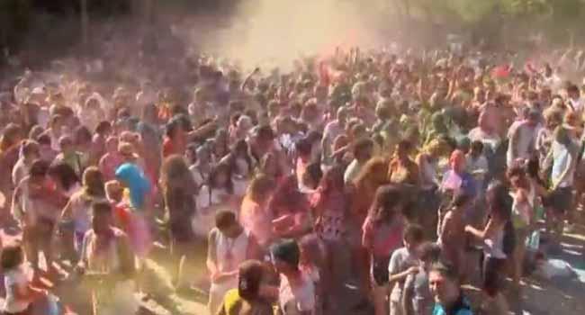 Hundreds Celebrate Monsoon Holi In Madrid