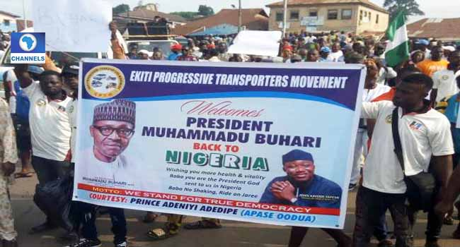 Ekiti APC rallies in celebration of Buhari's return, calls out Fayose, PDP