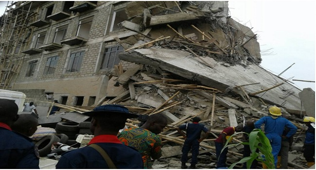 PHOTOS: Four-Storey Building Collapses In Ilorin, Injures Three