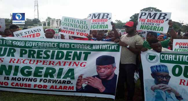 Group Protests Against Call For Buhari's Resignation