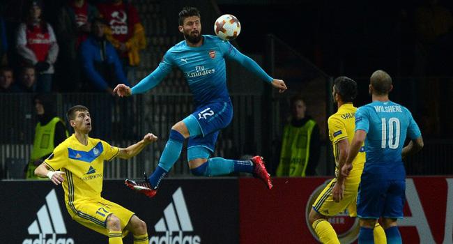 Giroud Scores 100th Arsenal Goal Against Bate Borisov