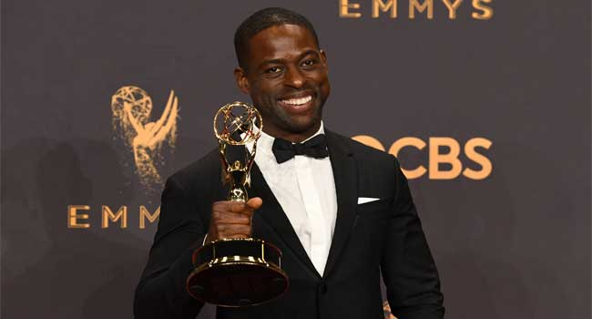 Sterling K. Brown finishes his acceptance speech backstage at the Emmys