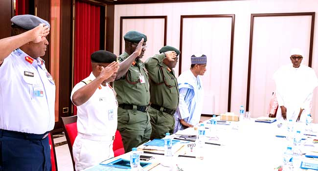 Remain Vigilant And Protect Nigerian Lives, Buhari Orders Service Chiefs
