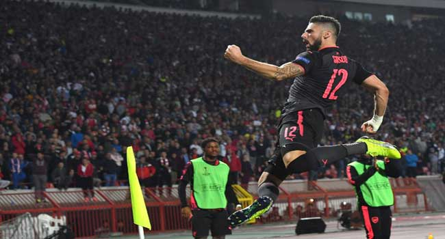 Giroud's Overhead Kick Gives Arsenal Victory Over Red Star