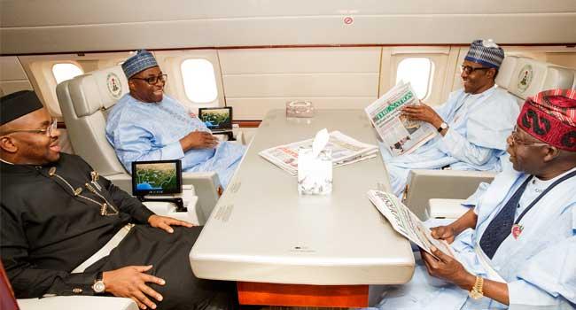 PHOTOS: Tinubu Flies With Buhari To Abidjan
