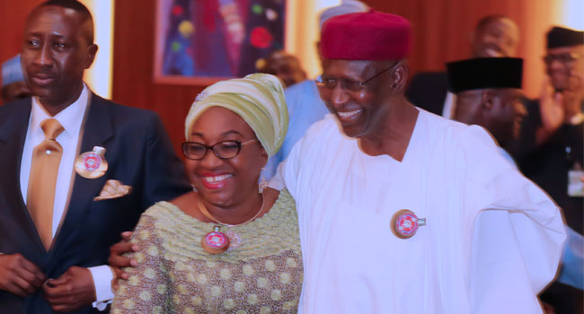 Chief of Staff, Mal Abba Kyari embraces former Head of Civil Service of the Federation, Mrs Winifred Oyo-Ita while the NSA Major General Babagana Monguno Rtd looks on during the Federal Executive Council Meeting held at the Council Chambers State House. PHOTO; SUNDAY AGHAEZE/ NOV 8 2017