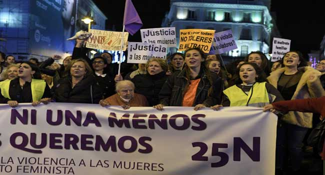 Thousands Protest In Madrid, Condemn Violence Against Women