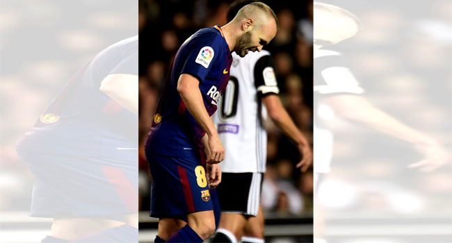 Iniesta Sidelined By Calf Strain