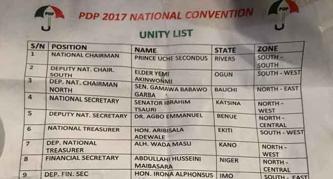 'Unity List' Causes Outrage At PDP's National Convention