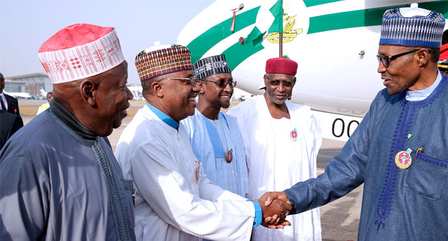Service Chiefs, Gov. Amosun pay Buhari surprise birthday visit