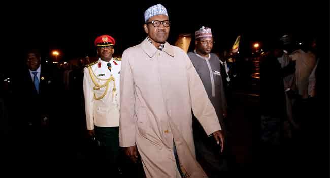 President Buhari Arrives Addis Ababa For AU Summit