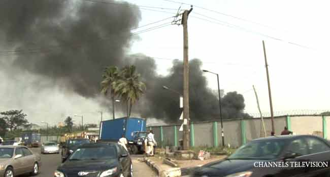PHOTOS: Fire Guts Customs Warehouse In Lagos
