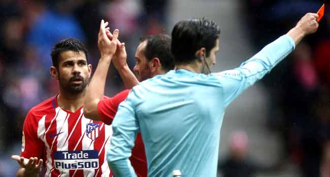 Costa Gets Red Card After Scoring Atletico Winner