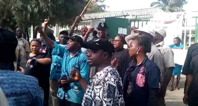 National Population Commission Staff Members Protest In Abuja
