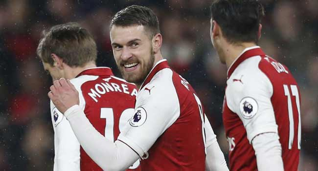 Ramsey Hits Hat-trick As Arsenal Sink Everton