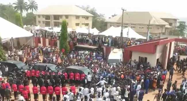 Osinbajo, Jonathan, Tinubu Attend Ekwueme's Funeral Service