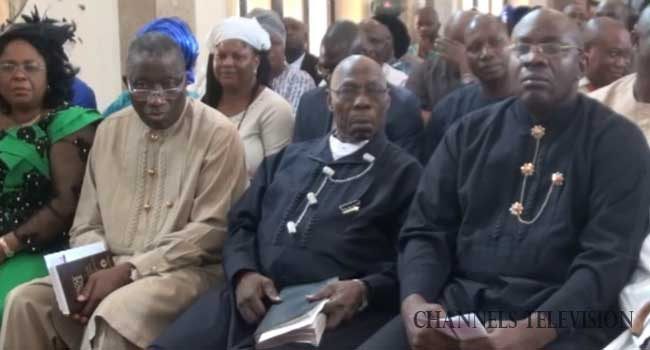 Obasanjo Attends Church Service With Jonathan, Preaches Unity