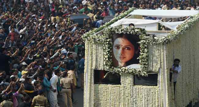 India Bids Tearful Farewell To Bollywood Star Sridevi