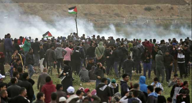 Israeli Drone Drops Tear Gas On Gaza Protesters