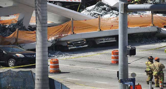 Several Feared Killed As Pedestrian Bridge Collapses On Miami Highway