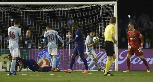 Barcelona Escape Defeat Against Celta Vigo After Roberto Sees Red