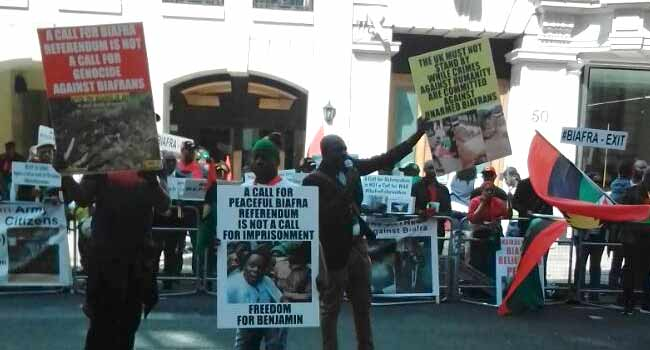 BREAKING: Biafra Supporters Protest At Commonwealth House