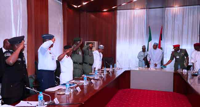 Service Chiefs Keep Mum After Meeting With Buhari