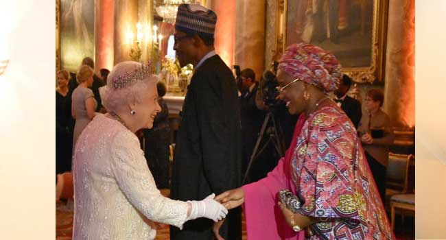 President Buhari, Wife Attend Dinner With Queen Elizabeth