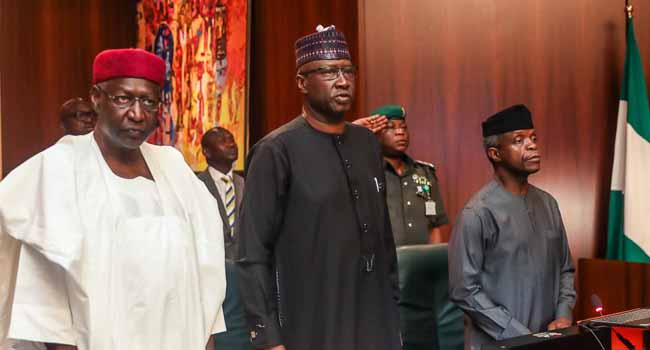 Chief Of Staff, Abba Kyari, Secretary to the Government, Boss Mustapha and Vice President Muhammadu Buhari during the Federal Executive Council (FEC) meeting in Abuja on Wednesday.